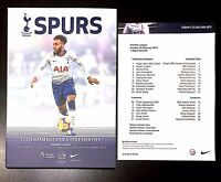Tottenham Hotspur (Spurs) v Leicester City Programme+Team Sheet 10 February 2019