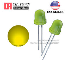 50pcs Led 10mm Yellow Color Yellow Light Diffused Round Top Emitting Diodes Usa