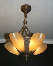Antique amber slip shade glass Art Deco ceiling light fixture chandelier