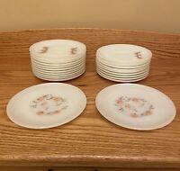 Set Of (22) Vintage FIRE KING Fleurette Dinnerware Saucers/ Dessert Plates