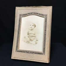 "VTG Sitting Baby Picture Portrait 3-1/8"" x 4.75"" Cardstock 6.75"" Stand-Up Frame"