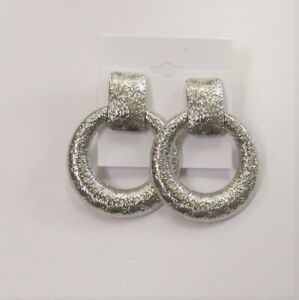 Silver Plated Textured Dangle Drop CLIP ON Fashion Earrings  # 063 Clip-ons