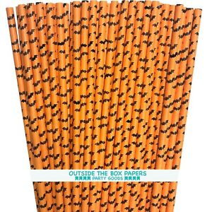 100 Orange and Black Bat Theme Halloween Paper Straws
