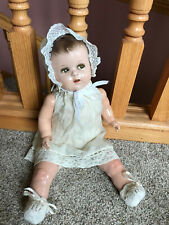 """15"""" Old Cute Antique Composition Unknown Flirty Eyes Baby Infant Doll NR"""