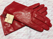 DENTS LADIES RED LEATHER LINED GLOVES SIZE 7 MEDIUM