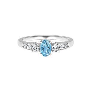 Eternity Ring Oval Three Stone 925 Silver 6X4 MM Swiss Blue Topaz Ring