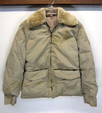 vtg Rare Early American Down Fill Hunting Coat fur collar locking zip sz S