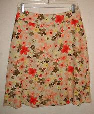 Christopher & Banks Linen Blend Side Zip Floral Print A-line Skirt Size 4
