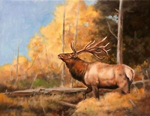 Dustin Curtis Fall Gold Bull Elk 11x14 Original Acrylic Painting on Canvas