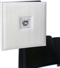 Wedding Stipe Hearts white drymount photo album 29x31cm, 50 black pages