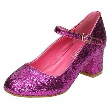 Niña Spot On Purpurina Tacones Formal Rosa Negro Plata Zapatos Fiesta H3R057
