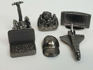 2007 Monopoly Electronic Banking 6 Pewter Tokens Charms Space Shuttle Altoids