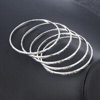 5Pcs Men Women Wholesale 925 Silver Filled Stack Cuff Bangle Bracelets Jewelry
