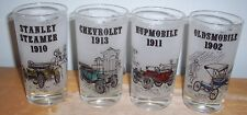 """LOT OF 4 DIFFERENT FROSTED ANTIQUE CAR 5"""" DRINKING GLASSES"""
