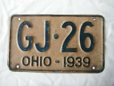 1939 Ohio License Plate Tag