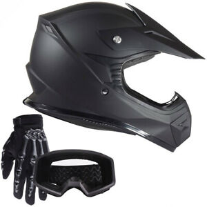 Youth Motocross Kids Helmet Offroad Goggles Gloves Dirtbike ATV Matte Black DOT