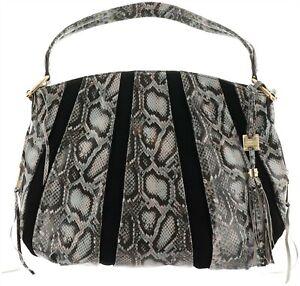 Aimee Kestenberg Pebble Leather & Suede Hobo Tuscany Soft Grey Cobra NEW A282316