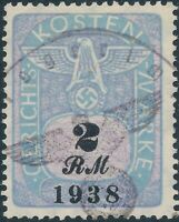 Stamp Germany Poland Revenue WWII Court Document Fee 1938 2 RM Used