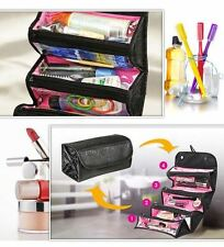 Roll-N-Go Makeup Cosmetic Bag Roll Up Case Pouch Smart Toiletry Travel Bag