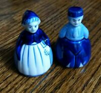 Delft Hand Painted Blue & White Art Pottery Lady and man Figural Bell - Holland