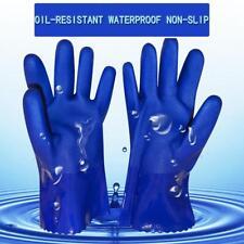 2Pcs Waterproof Gauntlet Gloves Long Heavy Duty Rubber PVC Coated 27cm Bl WXXX