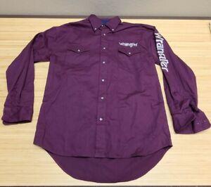 Wrangler Shirt Mens Medium Purple Long Sleeve Western Rodeo Spellout Logo