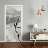 Self adhesive Door Wall wrap removable Peel & Stick Decal People skiers