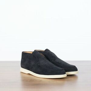 LORO PIANA 995$ NEW Open Walk Ankle Boots In Navy Blue Suede Calf Skin