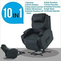 Electric Power Lift Recliner Chair Armchair Elderly Leather Lounge Seat Black