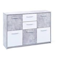 Moderne Kommode mit 5 Türen und 2 Schubladen Dekor Beton weiß 115 x 30 x 77cm