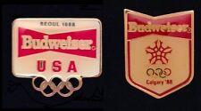 Set of 2 Olympic Sponsor Pin Badge~Budweiser~Anheuser Busch~Calgary~Seoul~1988