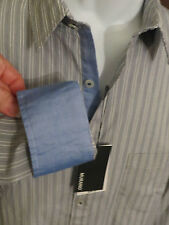 MURANO Mens Gray White Blue Reverse Cuffs Mens Shirt Button Front NEW HOT L