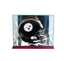 New FS Glass Rectangle Football Helmet Display Case UV NFL Cherry Molding