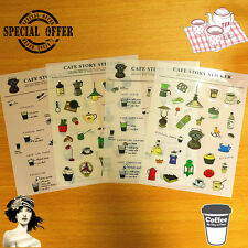Cute Coffee Story Stickers 4 Different Sheets- Organizer & Day Planners