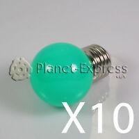 10 x Bombilla 1W LED E27 Verde 220V 90 lumen Decoracion ambiente jardin SMD 3014