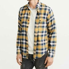 NWT $58 Abercrombie & Fitch ANF Mens Green Yellow Flannel Plaid Shirt S Small