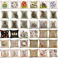 Square Cotton Linen Easter Waist Throw Pillow Case Cushion Cover Home Sofa Decor