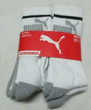Puma  6 pair  Crew White Men Socks Size  10-13