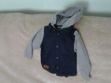 Baby Boys 9-12 Months - Navy Blue & Light Grey Hooded Shirt - Rebel