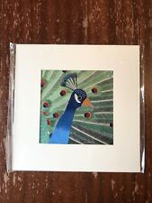 China Embroidery Art Inc Handmade Silk Royal Bird Peacock Matted Painting Blue
