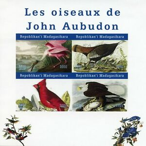 Madagascar Birds on Stamps 2020 MNH John James Audubon Eagles Art 4v IMPF M/S