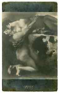 1910s Kiss of Sphinx by Franz von Stuck Art Fantasy Nu Old Russian Postcard