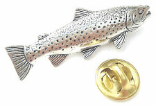 Brown Trout Fish Handcrafted from English Pewter in the UK Lapel Pin Badge