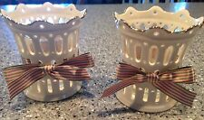 Set of two Lenox Ivory Lattice Gold Trim Candle/Votive Holders with Fabric Bows