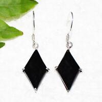 Natural BLACK TOURMALINE Gemstone 925 Sterling Silver Jewelry Earrings Free Ship