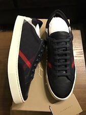 New Authentic Burberry Men Navy sneakers Shoes Logo Nova Check Plaid 8 41 $590