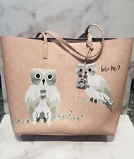 Kate Spade New York Pink Leather Owl Pattern Large Tote Bag