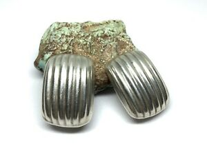 Vintage Taxco Mexico Sterling Silver Large Puffy Ribbed Clip Earrings (20.4g)