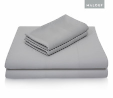 Woven Rayon from Bamboo 4 Piece Bed Sheet Set Breathable Hypoallergenic Gray Ash