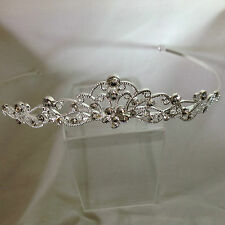 Silver plated diamante traditional shaped flower and filigree dainty tiara 40402